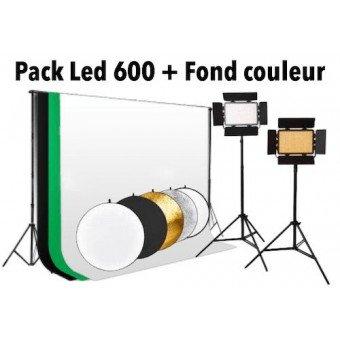 Pack Eclairage Led 600 watts + Support et fond couleur Panneaux Led