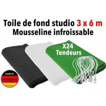 Fond studio photo 3x6 m en mousseline infroissable - Straiville Pro Fond photo & vidéo