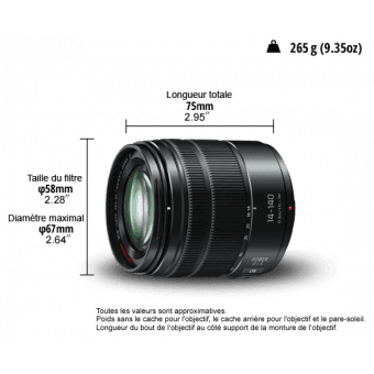 Panasonic Lumix G 14-140 mm f/3.5-5.6 ASPHPower OIS Téléobjectif