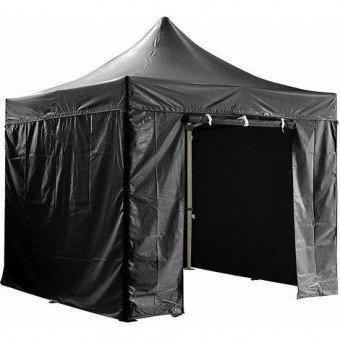 Barnum pliant 3x3m avec pack 4 murs amovibles - noir - tente pliante Barnum & Tente