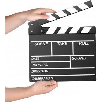 Clap cinéma & Vidéo Professionnel - Noir et Blanc Ecran vidéo / Prompteur